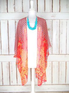 Red/yellow peacock tribal bohemian print sheer silk kimono cardigan/sheer floral cover up blouse/gypsy festival top/one size  Features…
