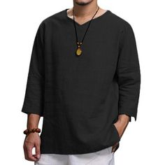 ChArmkpR Mens Vintage Chinese Style Solid Color V-neck Half Sleeve Loose Casual T Shirts on sale-NewChic Mobile How To Fold Sleeves, Half Sleeves, Casual T Shirts, Men Casual, Men Shirts, Vintage Men, Fashion Vintage, Mens Fashion, Latest Fashion