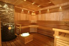 Sauna valaistus Cariitti Sauna Lights, Sauna House, Finnish Sauna, Joko, Jacuzzi, Stairs, Lighting, Outdoor Decor, Furniture