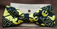 Star Wars yellow bow bow tie / hair bow by AbandonedWarehouse Bow Tie Hair, Bow Bow, Hair Bows, Jedi Symbol, Yellow Bow Tie, Owl Rocks, Elastic Headbands, Altered Art, Star Trek