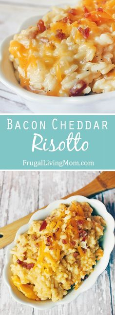 Think macaroni and cheese, on a pedestal. If the thought of one more night of rice,pasta, or potatoes as a side dish makes you want to pull your hair out, risotto is a wonderful substitute. #rice #bacon #cheese