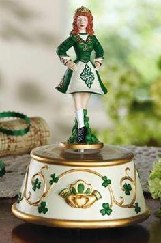 St. Patrick's Day Irish Dancing Lassie Decorative Music Box NEW