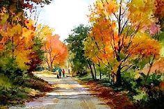 Connie Berberian - Autumn Stroll (watercolors)