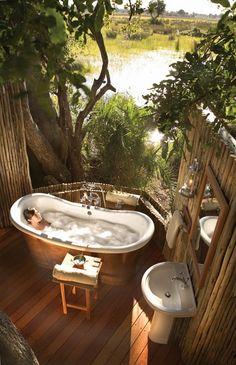 Eagle Island Lodge for extreme luxury in Okavango Delta Botswana. Luxury Okavango Delta Safari at Eagle Island. Outdoor Bathtub, Outdoor Bathrooms, Outdoor Showers, Honeymoon Suite, Honeymoon Registry, Beautiful Hotels, Unique Hotels, Amazing Hotels, Beautiful Bathrooms
