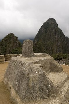 The Intihuatana at the archaeological site of Machu Picchu, Peru.