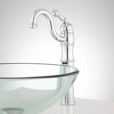 Trevena Single-Hole Vessel Faucet - Pop-Up Drain - No Overflow - Chrome