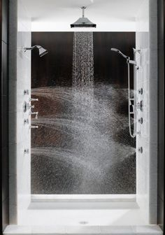 Multiple shower heads from all directions is the best way to stay warm in the shower. Total Escape shower from Brizo.