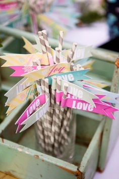 paper striped straw flags by my sweet friend Courtney of Brightly Designed