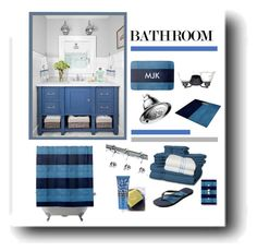 """Blue Bathroom Accessories"" by sgolis ❤ liked on Polyvore featuring interior, interiors, interior design, home, home decor, interior decorating, ExceptionalSheets, Library of Flowers, bathroom and leatherlook"