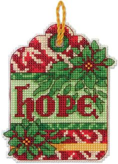 Dimensions Hope Christmas Ornament - Cross Stitch Kit. Classic reds and greens make Dimensions' Hope counted cross stitch ornament on plastic canvas a Christmas
