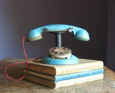 vintage blue toy phone