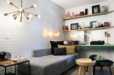 Estar com Arte | Galeria da Arquitetura > Cerâmica Portinari Diamante Matte 30x90 Estar, sala, living, 3D, parede decorada, relevo.
