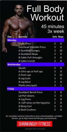 strength training: This is a balanced, a week full body workout routine. Each session is about 45 minutes. Its a beginner to intermediate level workout that assumes you know the basics of dumbbell and barbell strength training. Workout Plan For Men, Weekly Workout Plans, Workout Plan For Beginners, Gym Workout Tips, Weekly Workout Routines, Men Exercise, 3 Day Split Workout, 45 Minute Workout, 12 Week Workout