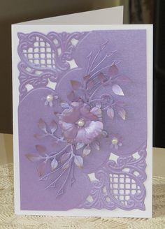 Handmade card with Anja corners, die cut leaves and flowers.