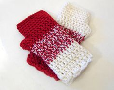 Red and white crochet armwarmers luxury fingerless by TinyOrchids, $25.00
