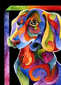 Party Doxy Dachshund 8x10 Dog Print from Artist Sherry Shipley | eBay