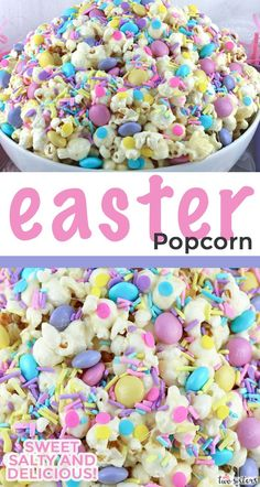 Easter Popcorn - Sweet and Salty popcorn never looked so good or was so easy to . Easter Popcorn - Sweet and Salty popcorn never looked so good or was so easy to make. This pretty popcorn treat woul Easter Deserts, Easy Easter Desserts, Easter Snacks, Easter Appetizers, Easter Brunch, Easter Treats, Easter Recipes, Holiday Desserts, Easter Food