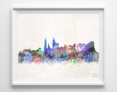 Barranquilla Skyline Watercolor Colombia Poster by InkistPrints