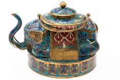 antique cloisone tea pots | Chinese Cloisonné Elephant-Form Teapot