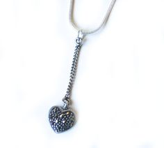 Beautiful hand vintage sterling silver and marcasite heart necklace. - Barton Boutique