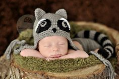 Remi the Raccoon Hat and Diaper Cover Set newborn by ModisteBee, $60.00