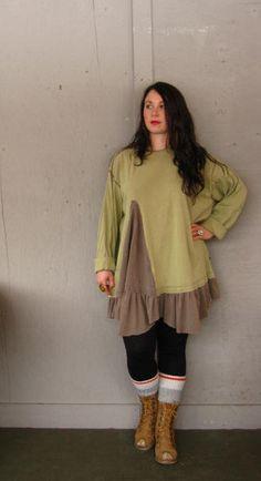 Romantic Lagenlook Tunic upcycled clothing Funky Artsy dress Tattered ruffled Tshirt dress Bohemian shirt top shabby chic XLarge-1X-2X-3X