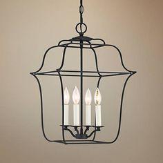 "Quoizel Gallery 14"" W 4-Light Royal Ebony Cage Chandelier - #20P25   Lamps Plus"