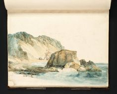 Joseph Mallord William Turner, 'North Shore, Tenby, Goscar Rock and First Point' 1795 (J.M.W. Turner: Sketchbooks, Drawings and Watercolours) Hipster Drawings, Cool Drawings, Turner Watercolors, Joseph Mallord William Turner, Art Diary, Landscape Drawings, Urban Sketching, Art Sketchbook, North Shore