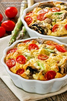 Super easy Asparagus Mushroom Crustless Quiche with seasonal vegetables perfect for Mother's Day or any day. Also a delicious brunch idea for the weekends. | TeaTattler.com