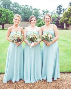 Mint Green Chiffon A-line Bridesmaids Dresses