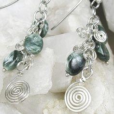 Earrings Artisan Green White Seraphinite Sterling Silver Swirls #003 | bohowirewrapped - Jewelry on ArtFire