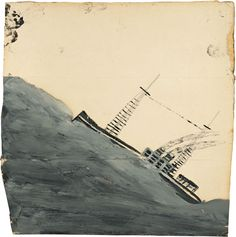 Alfred Wallis, Motor vessel mounting a wave, n.d, oil and graphite on card.