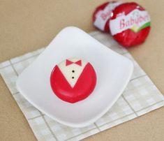 cute party  food babybel tuxedo idea