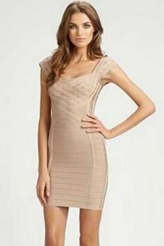 Cap Sleeves Low Cut Elegant Braided Nude Bandage Dress