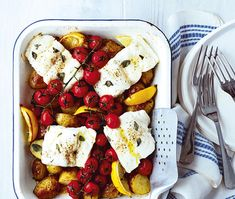 For this summer tray bake recipe, you can use any white fish fillets you like. Hake Recipes, Cod Recipes, Veggie Recipes, Fish Recipes, Meal Recipes, Lunch Recipes, Vegetarian Recipes, Recipies, Baked Cod