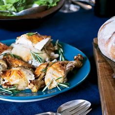 Roast Chicken with Tangerines | This six-pound bird yields a lot of meat. But if you want even more, get a capon (a castrated rooster). They're quite huge: nine to 11 pounds. (You'll have to increase the amount of ingredients relative to the size of the bird, which will also take longer to cook.)