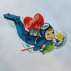 1960s Vintage Valentine card mechanical die cut little boy deep sea diver with fish by KerrysBungalow, $10.00