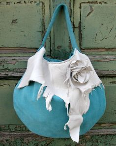Turquoise Suede Hobo with Pearl White Elk Leather by stacyleigh