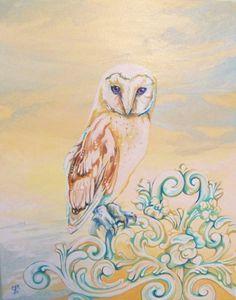 The Shabby Chic Owl, Original Painting
