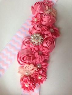 Coral flower sash , pregnancy sash , pregnancy belt , Maternaty sash  on Etsy, $32.99