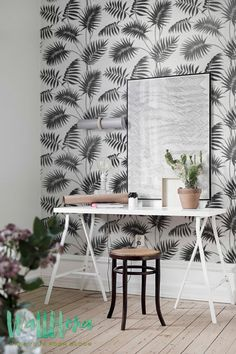 DESCRIPTION Transform any room in your home into a tropical paradise with this self adhesive wallpaper! This vinyl wallpaper features a print of grey palm areca