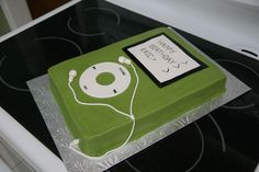 I was asked to make an Ipod cake for a 12 year old boy.  This is covered in butter cream with fondant accents.