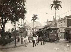 """Navegação por autor """"Malta, Augusto"""" Bonde elétrico na Praia de Botafogo cerca de 1910"""