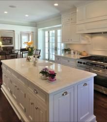 Love the white granite counter tops