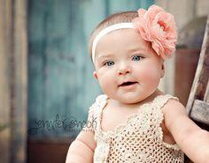 baby headband lace headband Pretty peach by MudpiesandPigtails, $9.95