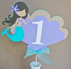 Mermaid Cake Topper or Centerpiece por ALittlePaperHouse en Etsy