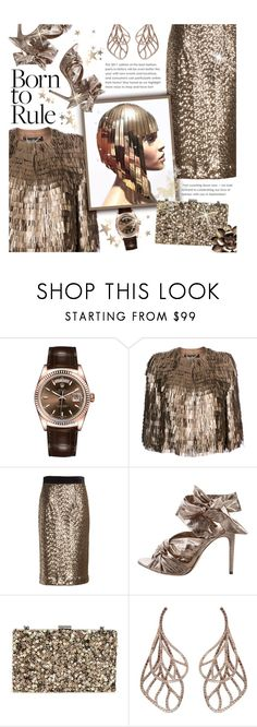 """New Contest: Time to Sparkle!"" by xiandrina ❤ liked on Polyvore featuring Rolex, Salvatore Ferragamo, Milly, Alexandre Birman, Nordstrom, Anyallerie and Fashion's Night Out"