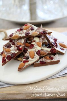 Chocolate, Cranberry & Roast Almond Bark - Bake Play Smile