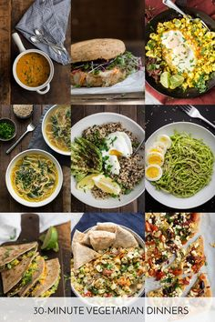 A list of 15, 30-minute vegetarian dinners that are easy, fast, and full of flavor. Perfect for when you are trying to get dinner to the table in a hurry.