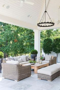 Outdoor Space - Neutral Colors (simple wood table) and lots of greenery